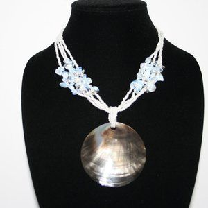 Beautiful white necklace with opalite and shell